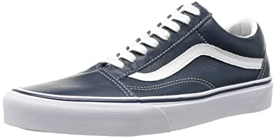 Vans LEATHER Unisex Old Skool Skate Shoe Dress Blues (8 D(M) US