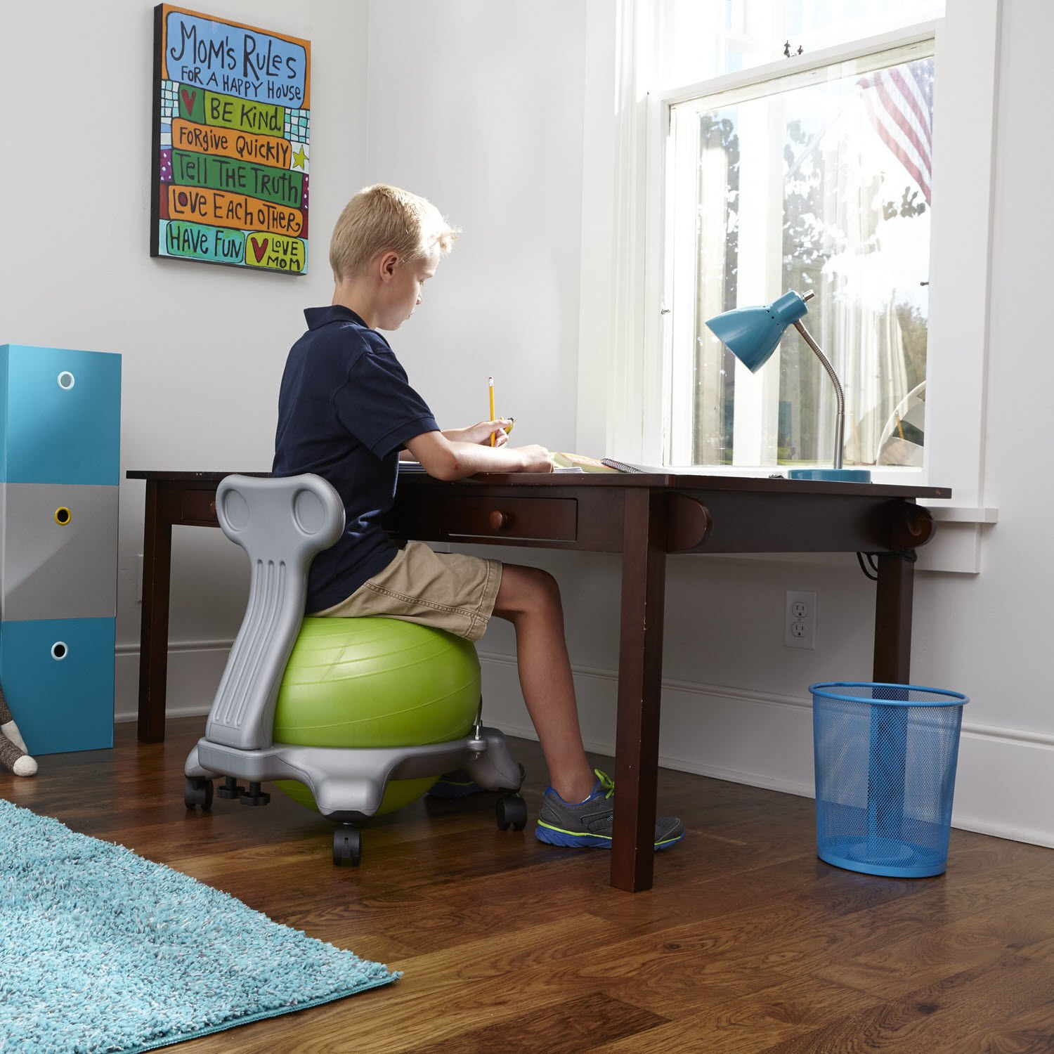 Gaiam Kids Balance Ball Chair - Classic Children's Stability Ball Chair, Alternative School Classroom Flexible Desk Seating for Active Students with Satisfaction Guarantee, Green by Gaiam (Image #5)