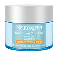 Neutrogena Hydro Boost City Shield Water Gel with Hydrating Hyaluronic Acid, Facial Moisturizer with Broad Spectrum SPF 25 Sunscreen, Oil-Free, Alcohol-Free, Non-Comedogenic, 1.7 oz