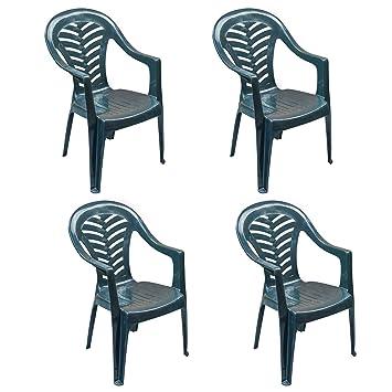 Resol Palma silla de jardín - verde - Patio plástico al aire libre muebles (Pack de 4): Amazon.es: Jardín