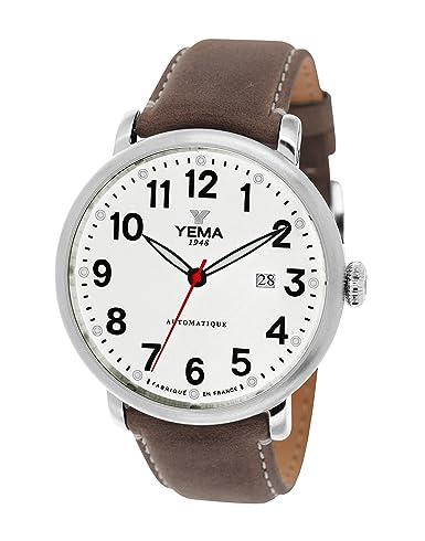 Yema - YEAU 009-ba - Reloj Hombre - automático analógico - Reloj color blanco - pulsera piel marrón: Amazon.es: Relojes