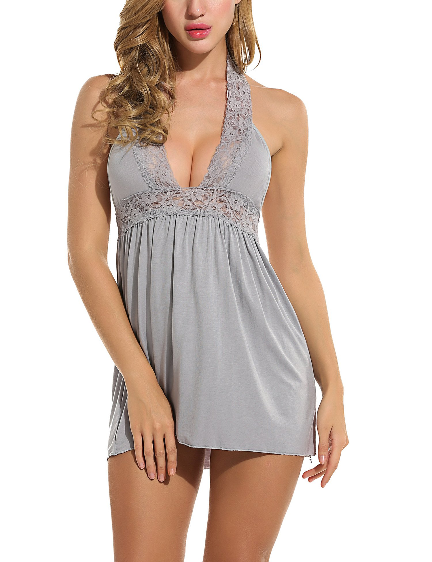 ADOME Women Sleepwear Halter Babydoll Lingerie Lace Chemise Nightie Dress,Style 1 Gray,Large