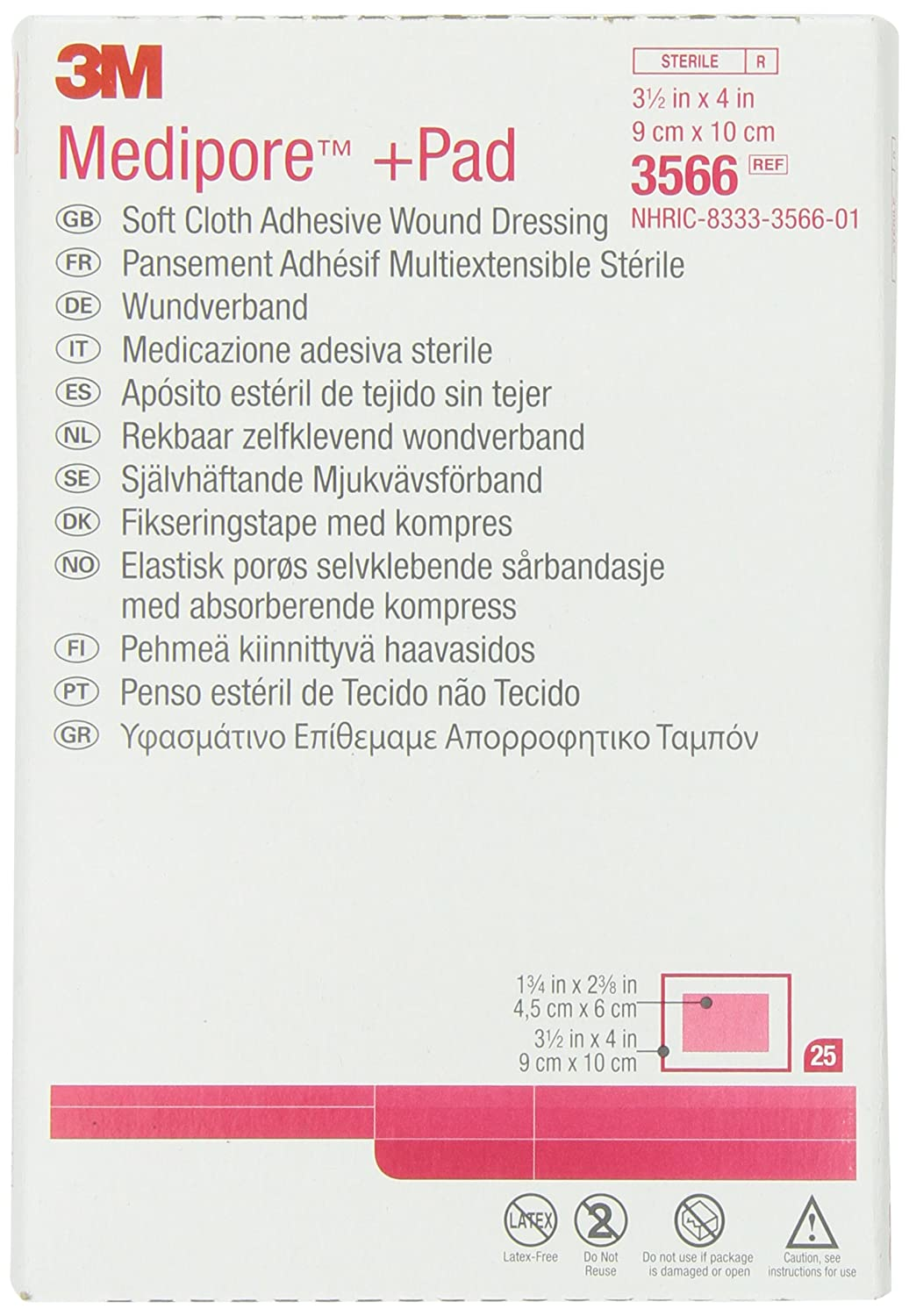 3M 3566 Medipore +Pad Soft Cloth Adhesive Wound Dressing, 25 Pads Per Pack (Pack of 1)