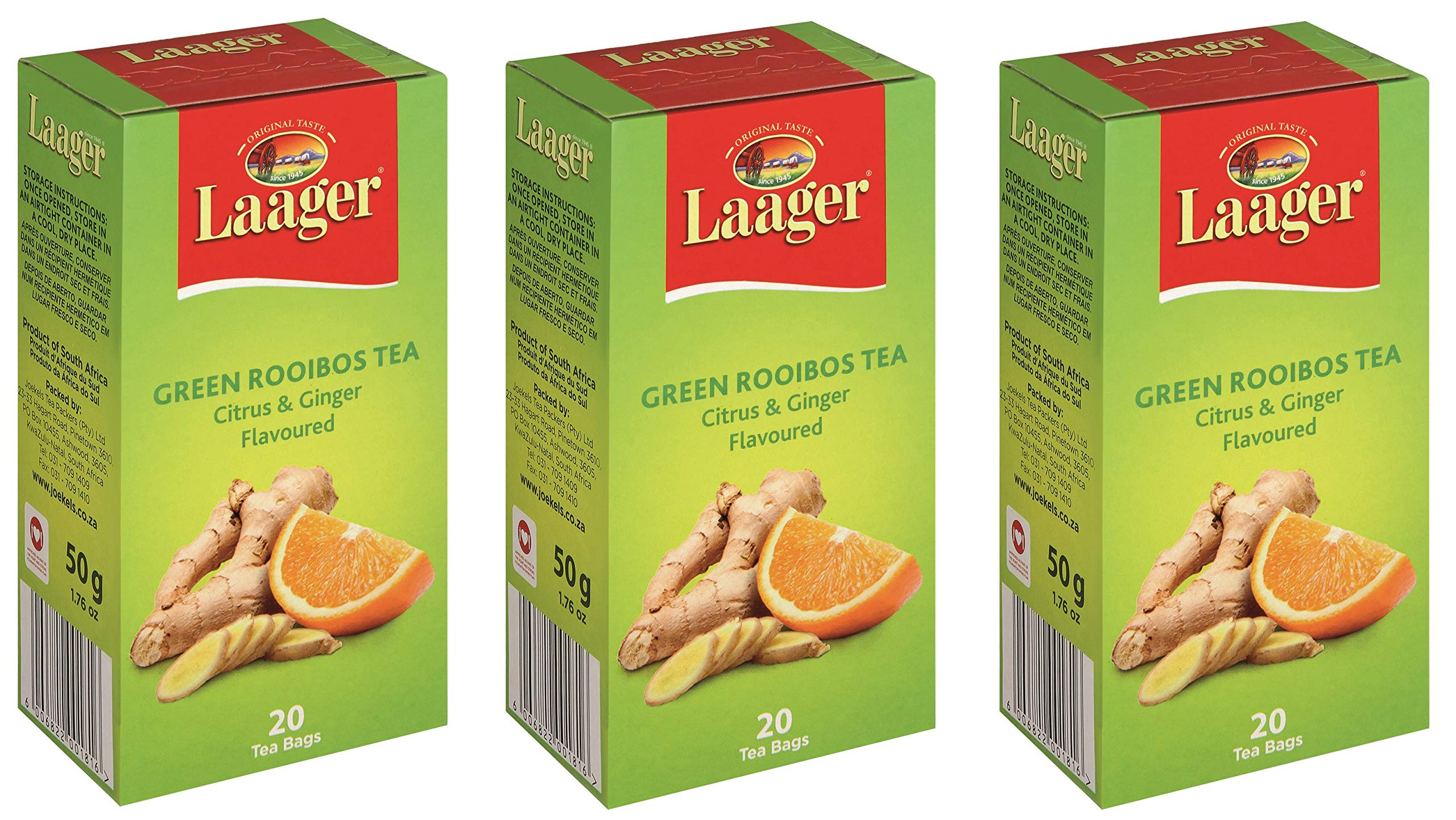Laager Rooibos Tea (Citrus & Ginger Rooibos, 60 Count (Pack of 3))