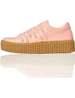 FIND Plateau Schuhe Damen Slipper mit Gerippter Sohle und Dekorativer Naht, Pink, 41 EU