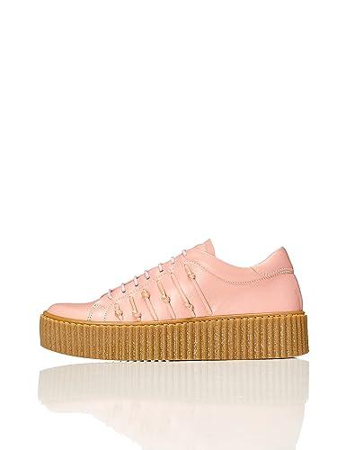 FIND Plateau Schuhe Damen Slipper mit Gerippter Sohle und Dekorativer Naht, Pink, 40 EU