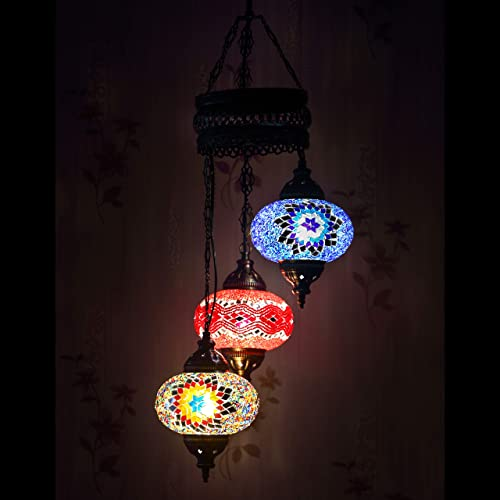 LaModaHome 35 Unique Colors, 2020 Customizable Chandelier 3 Globes Free 3 Bulbs, Stunning Mosaic Turkish Lamp Moroccan Light US Tiffany Lighting Ceiling Hanging Pendant Fixture Large Hardwired