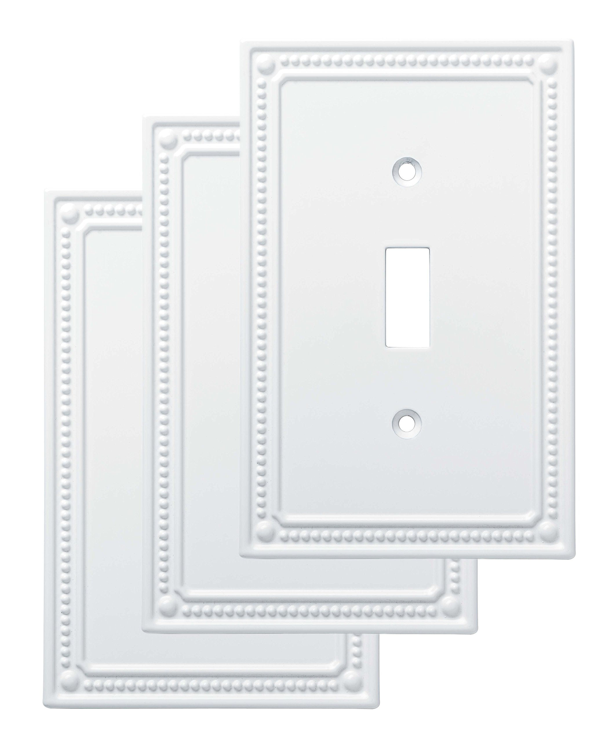 Franklin Brass W35058V-PW-C Classic Beaded Single Switch Wall Plate/Switch Plate/Cover (3 Pack), White by Franklin Brass