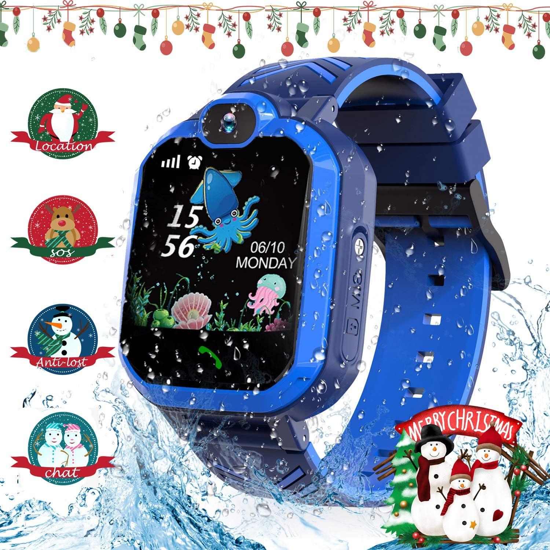 Jaybest Smartwatch Niños - Reloj Inteligente para Niños con rastreador de LBS con Linterna de Llamada SOS cámara Pantalla táctil Juego Smartwatch Childrens Navidad Gift (Azul Oscuro)