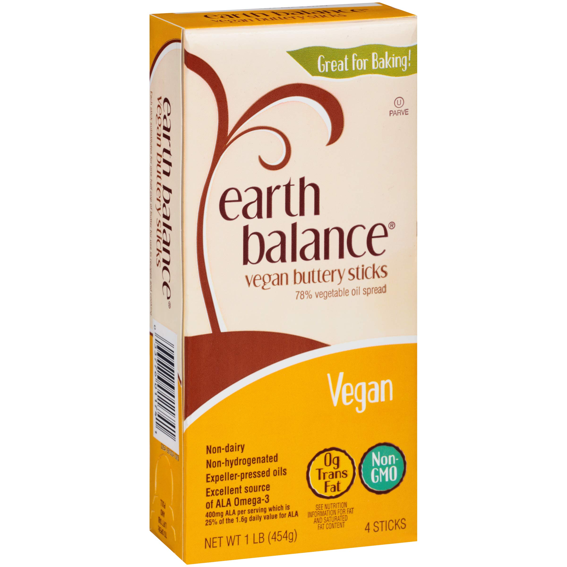 Earth Balance Vegan, Lactose Free, Non-Dairy, Gluten Free, No MSG, Non-GMO Buttery Sticks 16 ounce (Pack of 6)