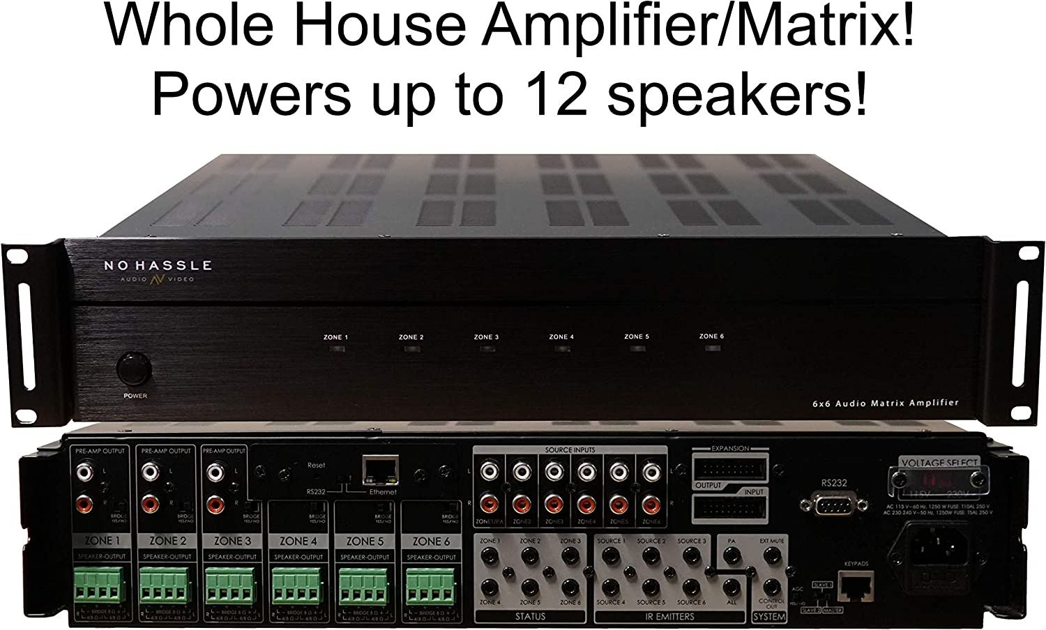 6x6 Whole House Amplifier Matrix Smart Home Amp with App 50 Watts 6 Zones 12 Speakers Control4 Savant URC RTI Simple Control 100 Watts