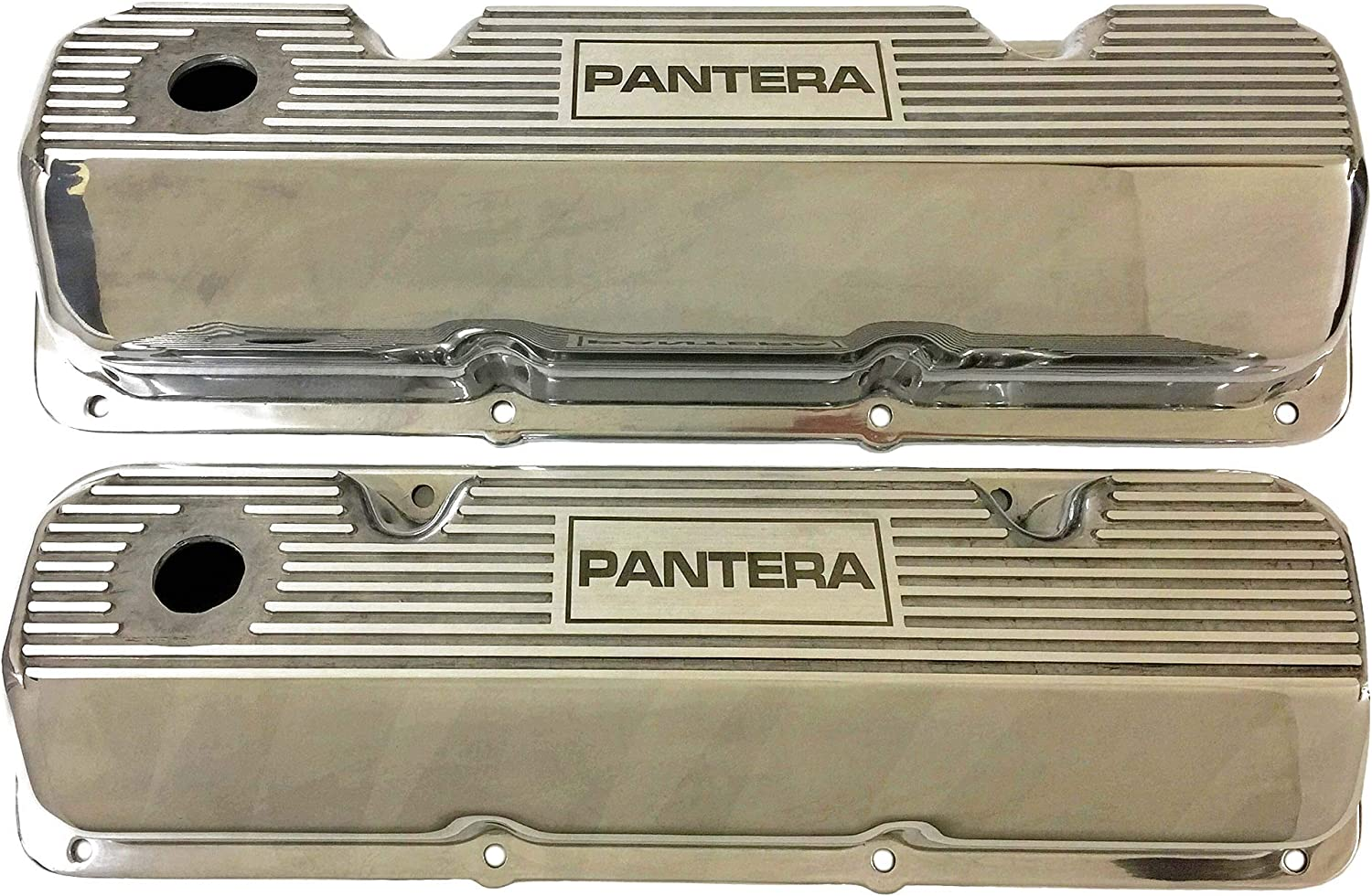 Compatible with Ford 351 Cleveland PANTERA Die-Cast Aluminum Polished Valve Covers