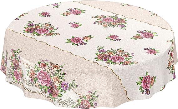 dise/ño de Flores Color Liso Rund 100cm Eingefasst Beige ANRO Mantel de Hule