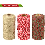 BTNOW Total Length 984 Feet/328 Yards Festival Twine Bakers Twines Cotton String for Gift Wrapping, Arts Crafts, 3 Spools