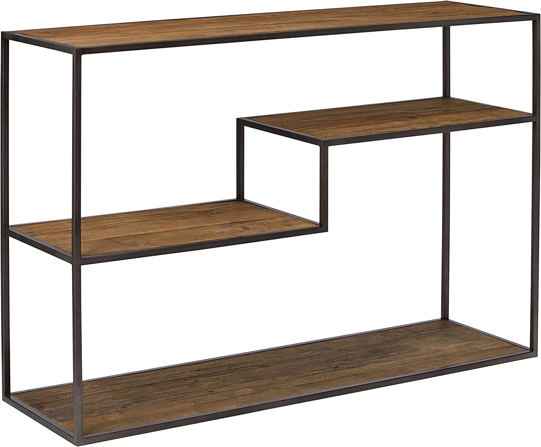 "Rivet Mid-Century Modern Wood and Metal Bookcase, 14""W, Wood and Dark Metal"