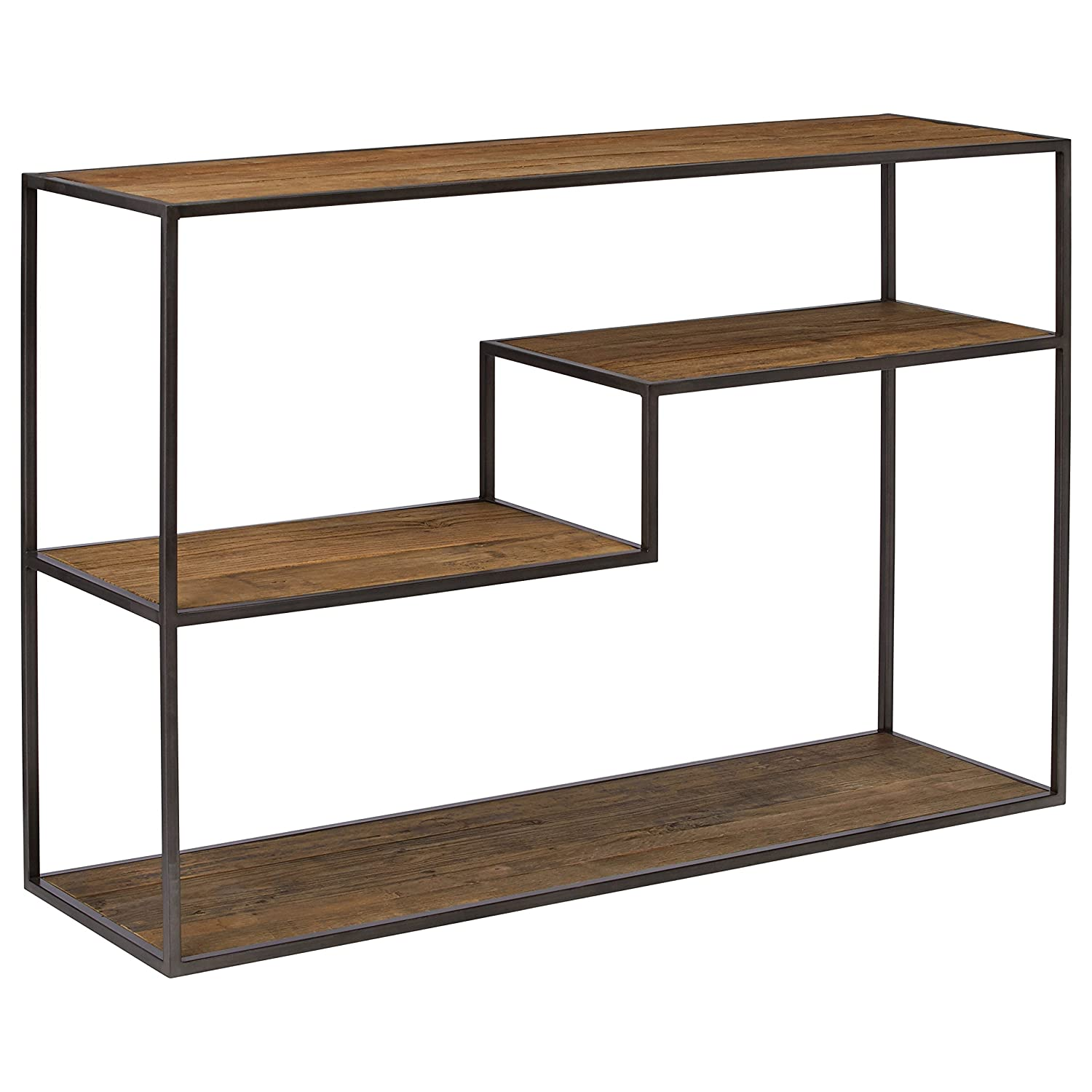 Rivet Mid-Century Modern Wood and Metal Bookcase, 14 W, Wood and Dark Metal