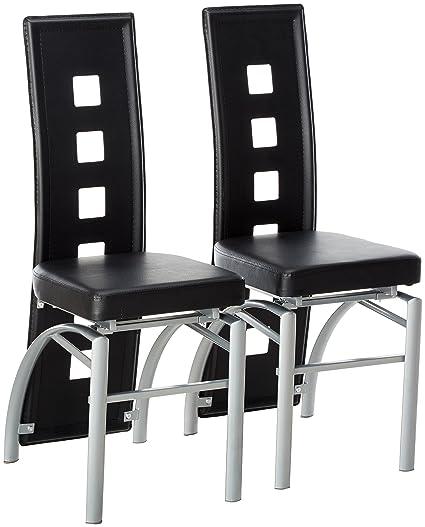 amazon com los feliz dining chairs black and silver (set of 2amazon com los feliz dining chairs black and silver (set of 2) chairs