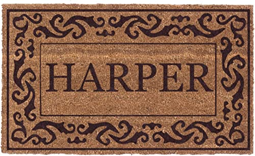 Coco Mats N More Brown Rolling Scrolls Bordered Personalized Coco Doormat 18 x 30 with Vinyl Backing