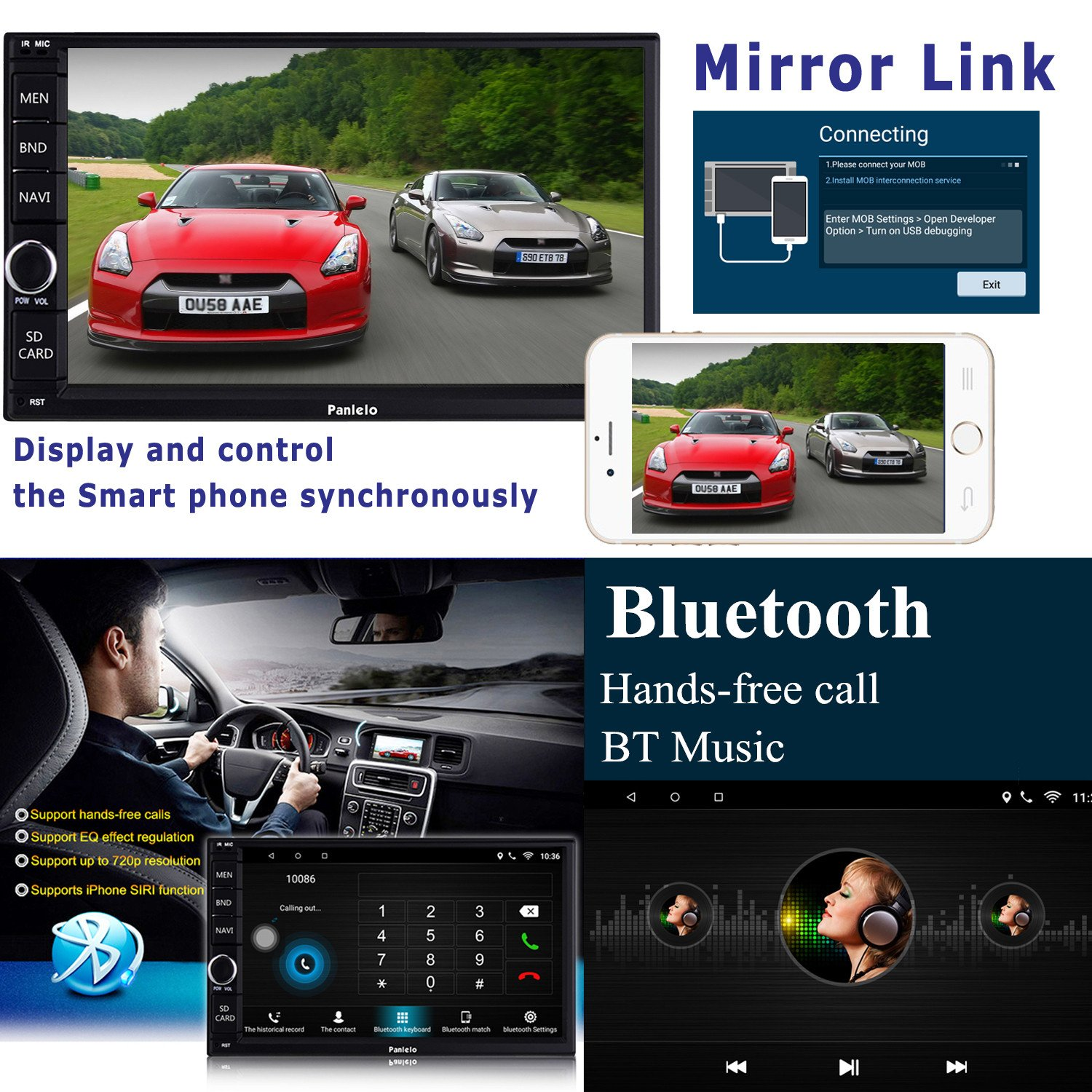 Panlelo PA012s Android 6.0 Car Stereo Double Din Car GPS Navigation 7 inch Car Radio Head Units Touch Screen BT WIFI Mirror Link SWC Quad Core 1GB RAM 16GB ROM AM/FM/RDS by Panlelo (Image #2)