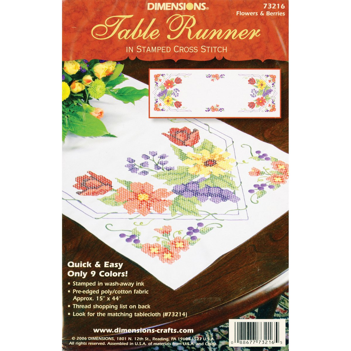 Dimensions Needlecrafts Stamped Cross Stitch, Flowers and Berries Table Runner 73216
