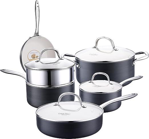 Batería de Cocina 10 Piezas Juego de Ollas y Sartenes Antiadherentes de Aluminio Juego de Cacerolas con Revestimiento Cerámico Blanco y Tapas de Vidrio sin PTFE/PFOA Negro: Amazon.es: Hogar