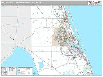 Map Of Port St Lucie Florida.Amazon Com Marketmaps Port St Lucie Fl Metro Area Wall Map 2018