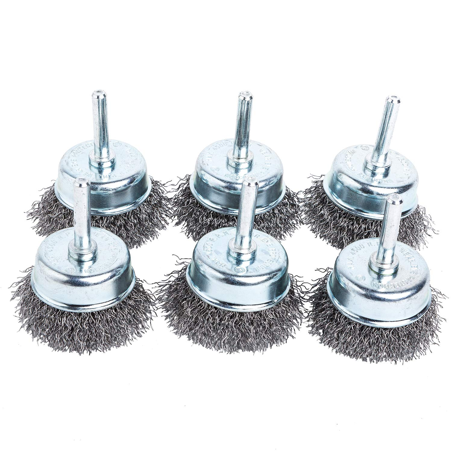 HOYIN Crimped Wire Cup Brush |6 Pack|2in 0.0118in Coarse Carbon Steel|1/4in Shank|for Drill