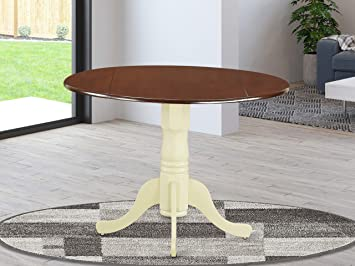 Amazon Com East West Furniture Dlt Mmk Tp Dublin Round Table With Two 9 Drop Leaves In Mahogany And Buttermilk Finish Furniture Decor