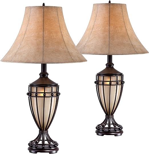 Amazon.com: Cardiff - Juego de 2 lámparas de mesa para urna ...