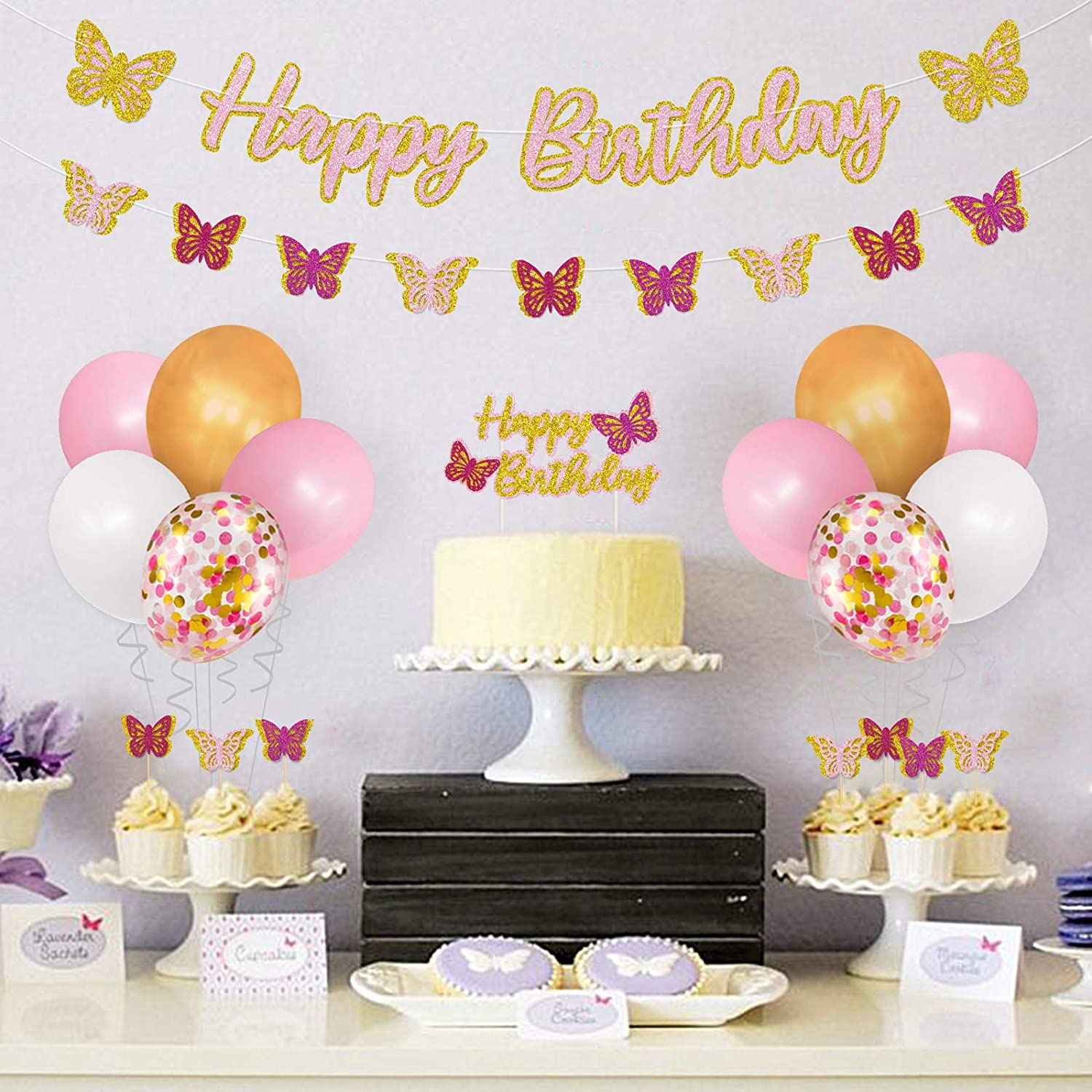 Butterfly Birthday Party Decorations Kit Spring Butterfly Happy Birthday Banner Glittery 3D Butterfly Garland Cake Topper Cupcake Toppers Pink Party Balloons for Girls Fairy Butterfly Photo Props Backdrop Supplies