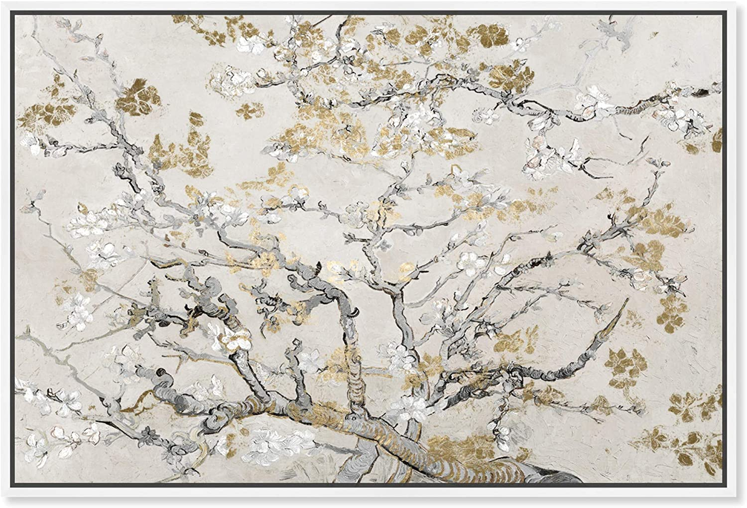 The Oliver Gal Artist Co. Classic and Figurative Framed Wall Art Canvas Prints 'Van Gogh Blossoms Inspiration Light' Impressionism Home Décor, 30