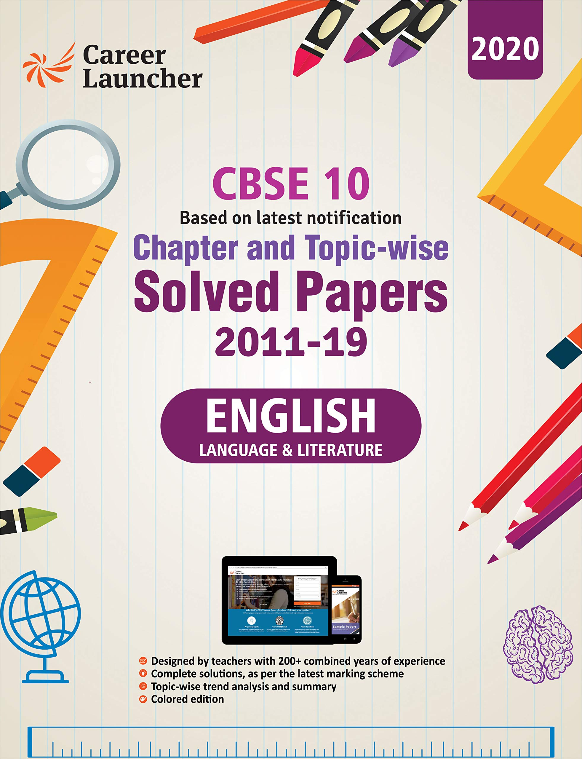 CBSE Class X 2020 - Chapter and Topic-wise Solved Papers 2011-2019 : English Language & Literature - Double Colour Matter Paperback – 27 August 2019