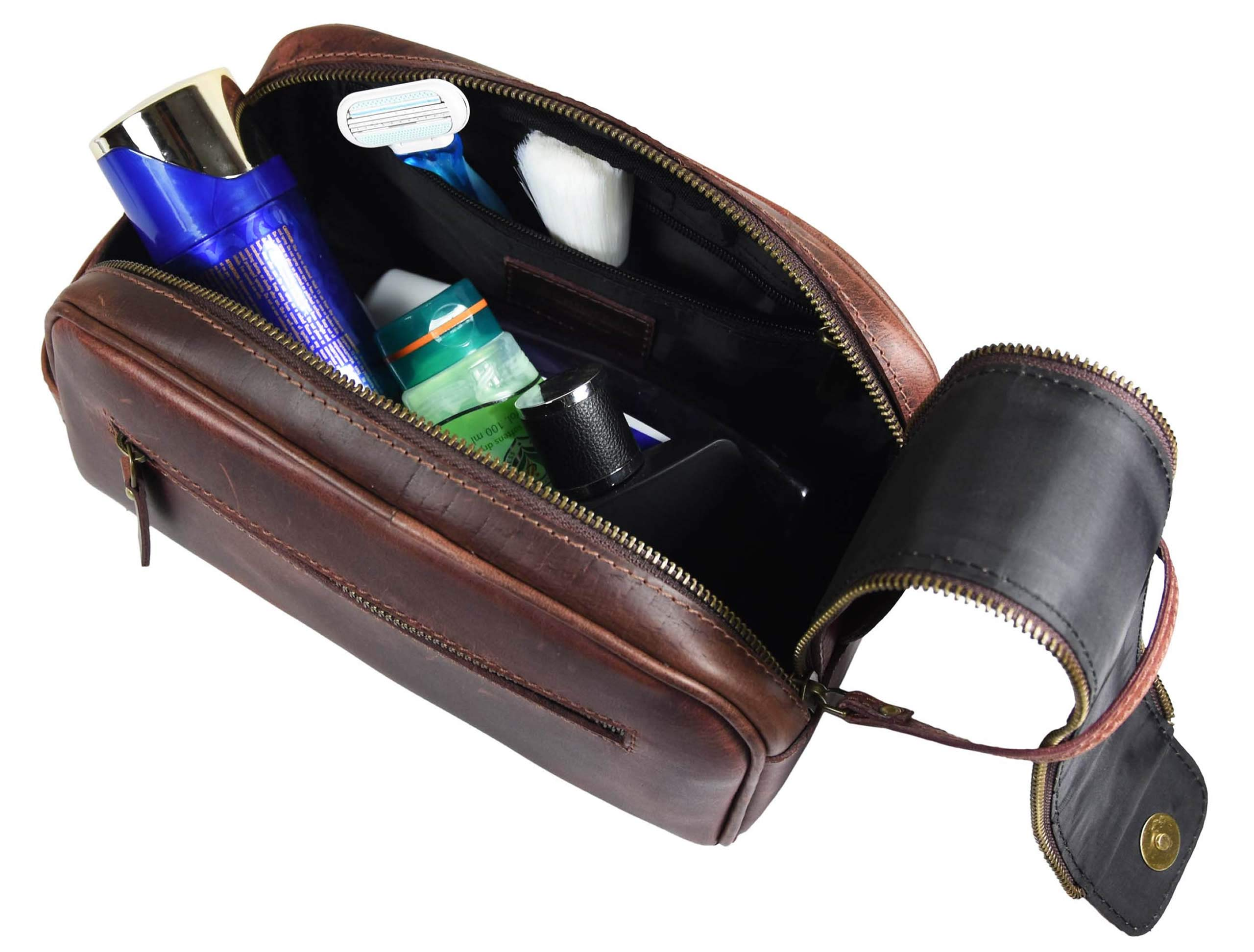 Leather Toiletry Bag for Men | Grooming Travel Kit | By Aaron Leather (Walnut - Dual Zipper) by AARON LEATHER GOODS VENDIMIA ESTILO (Image #2)