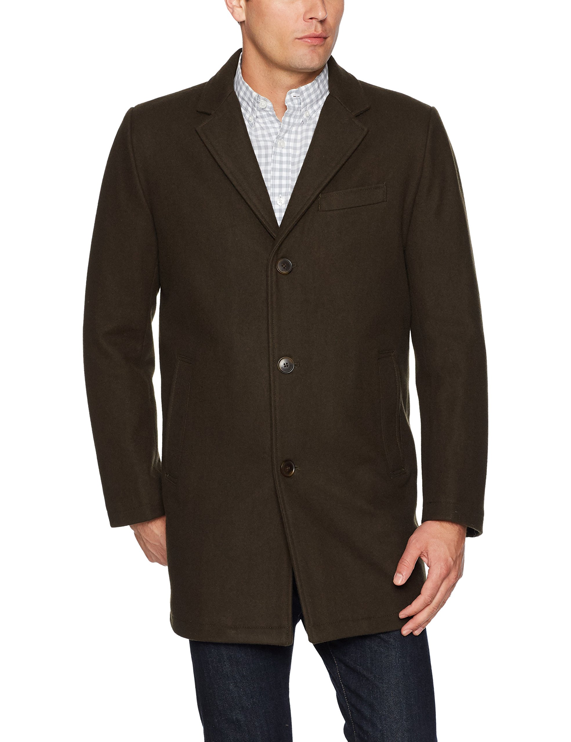 Tommy Hilfiger Men's Wool Tailored Top Coat, Olive, Small