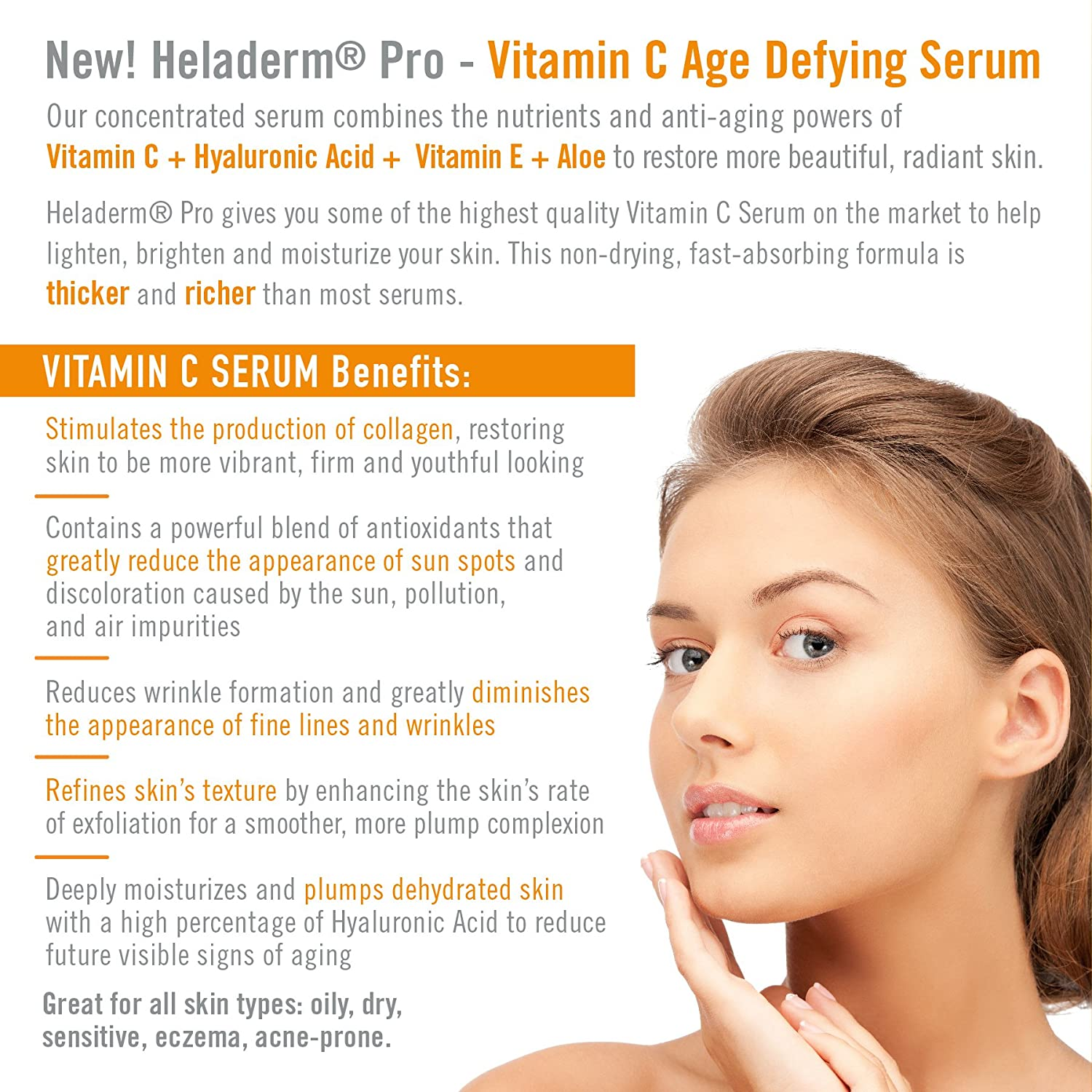Vitamin C Serum for face with Advanced Hyaluronic Acid, Vitamin E, and  Aloe  Natural Anti-Aging