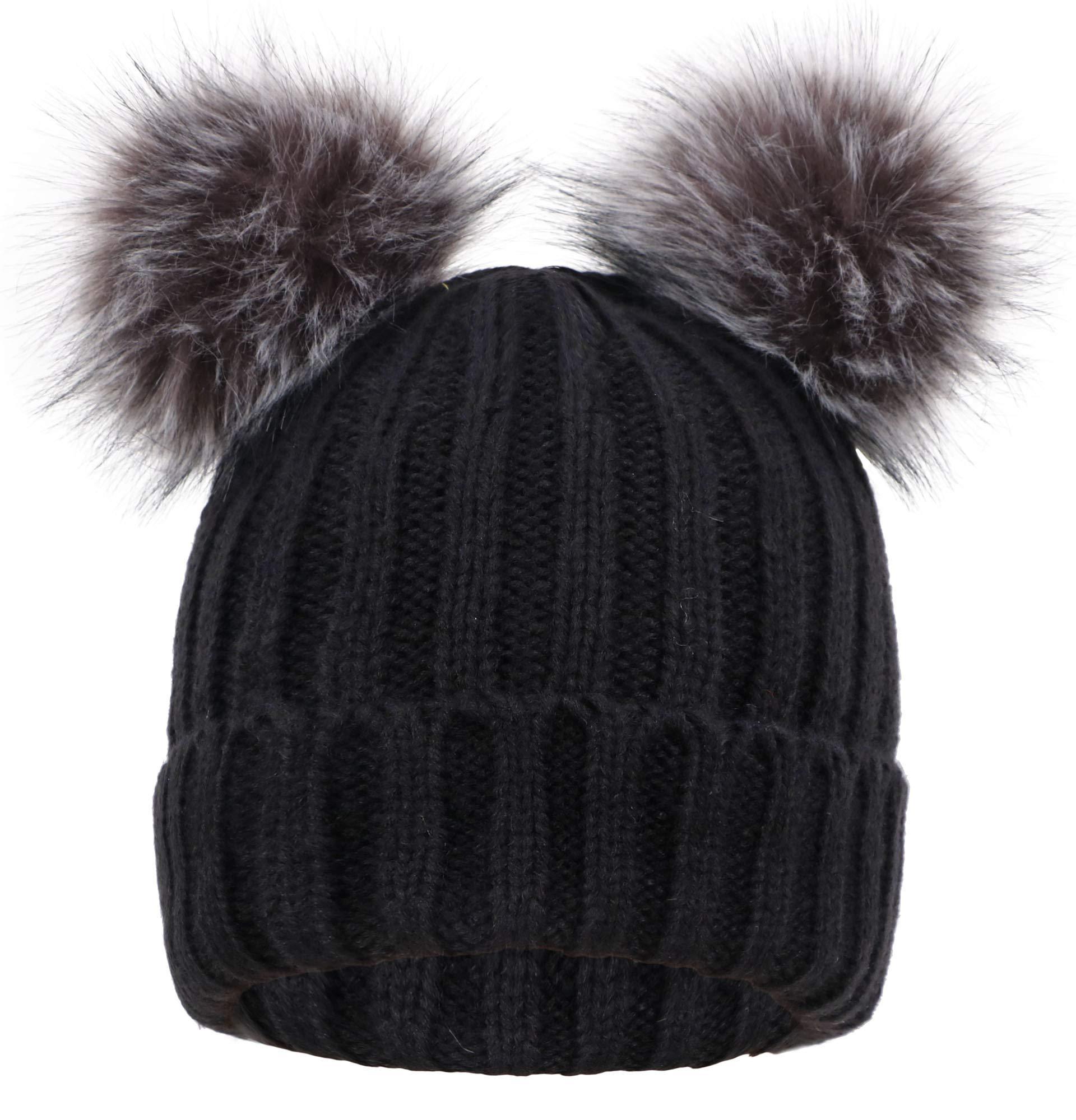 Women's Winter Chunky Knit Pompom Ski Snowboard Beanie Hat