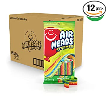 Airheads Xtremes Sweetly Sour Candy Belts, Rainbow Berry, 4.5 Ounce (Bulk Pack Of 12) by Airheads