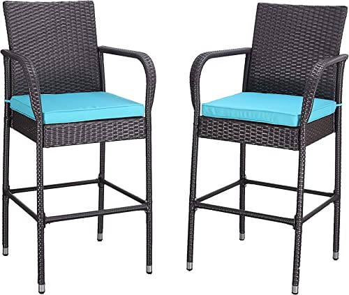 HTTH 2 Pieces Patio Bar Stools All-Weather Wicker Outdoor Furniture Chair, Armrest Bar Chairs Footrest Barstools Turquoise