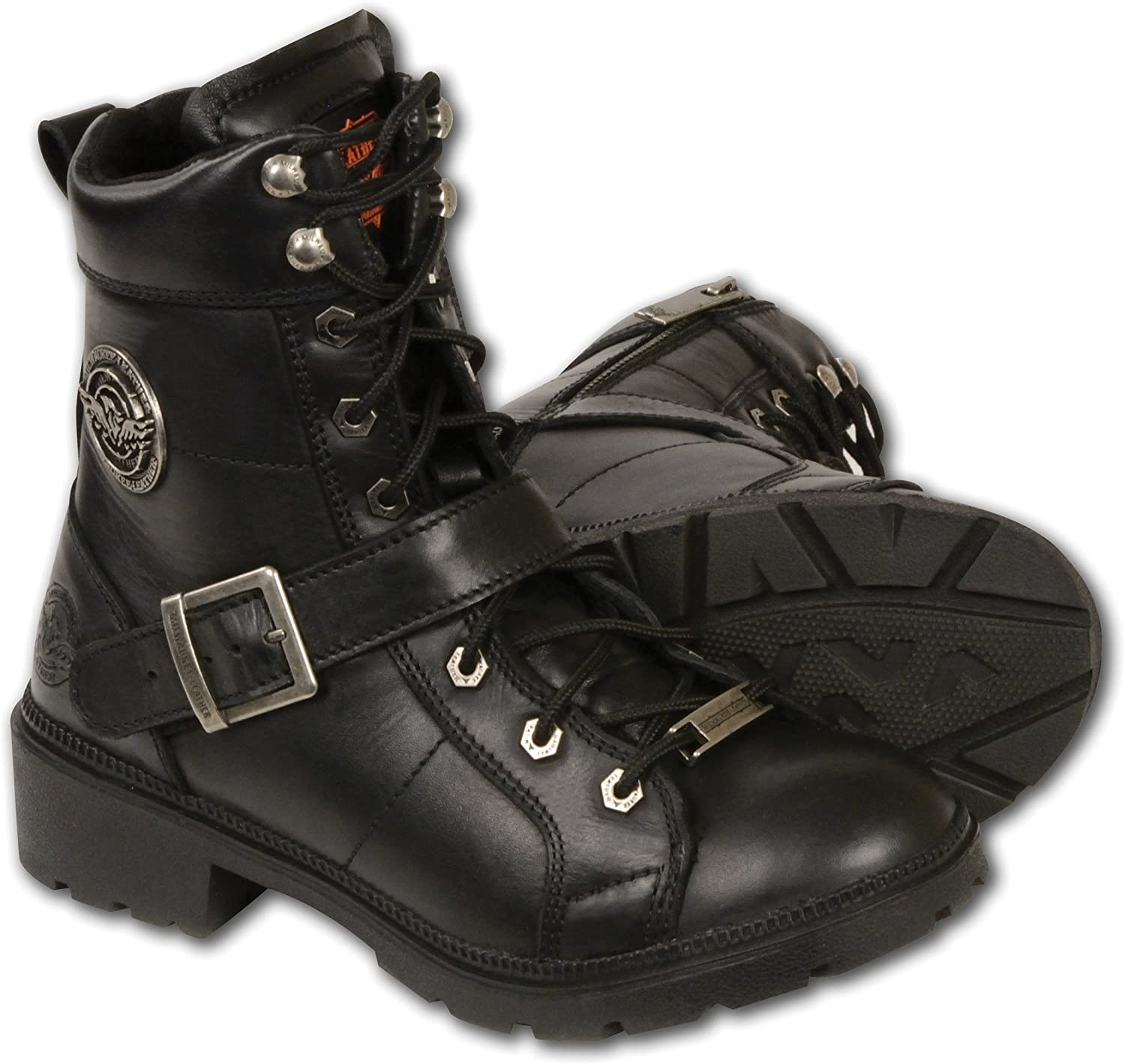 Black, Size 8 Milwaukee Womens Boots with Lace Front and Zip Closure