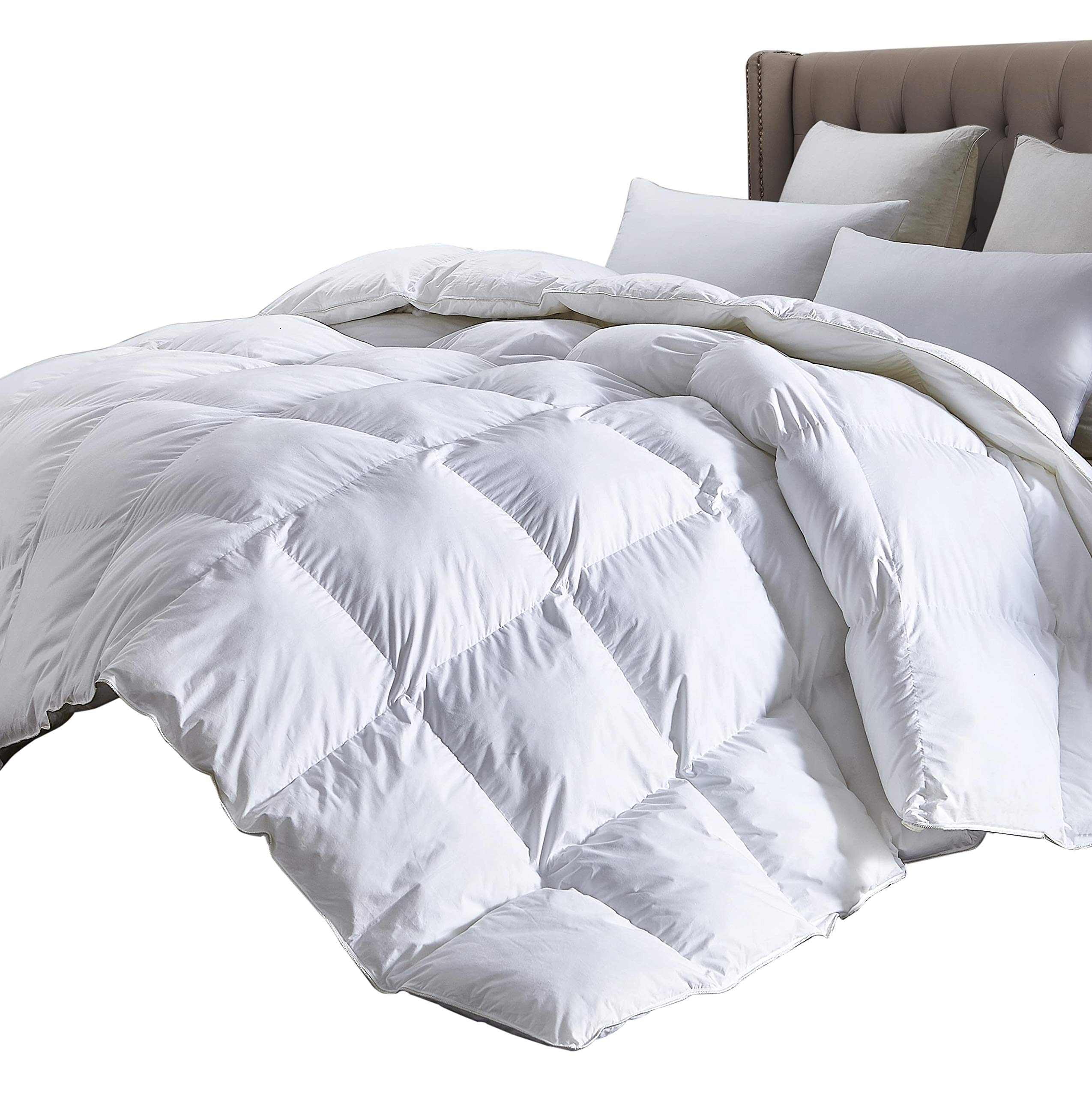 Luxurious Twin Size Lightweight GOOSE DOWN Comforter Duvet Insert All Season, 1200 Thread Count 100% Egyptian Cotton, 750+ Fill Power, 35 oz Fill Weight, Hypoallergenic, White Color
