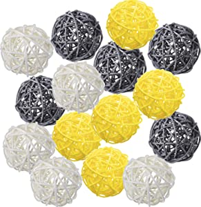 zorpia 15pcs 2 Inch Wicker Rattan Balls for Vase Filler, House Ornament, Christmas Tree Garden Wedding Party Coffee Table Decoration,Craft DIY (Yellow Gray White)