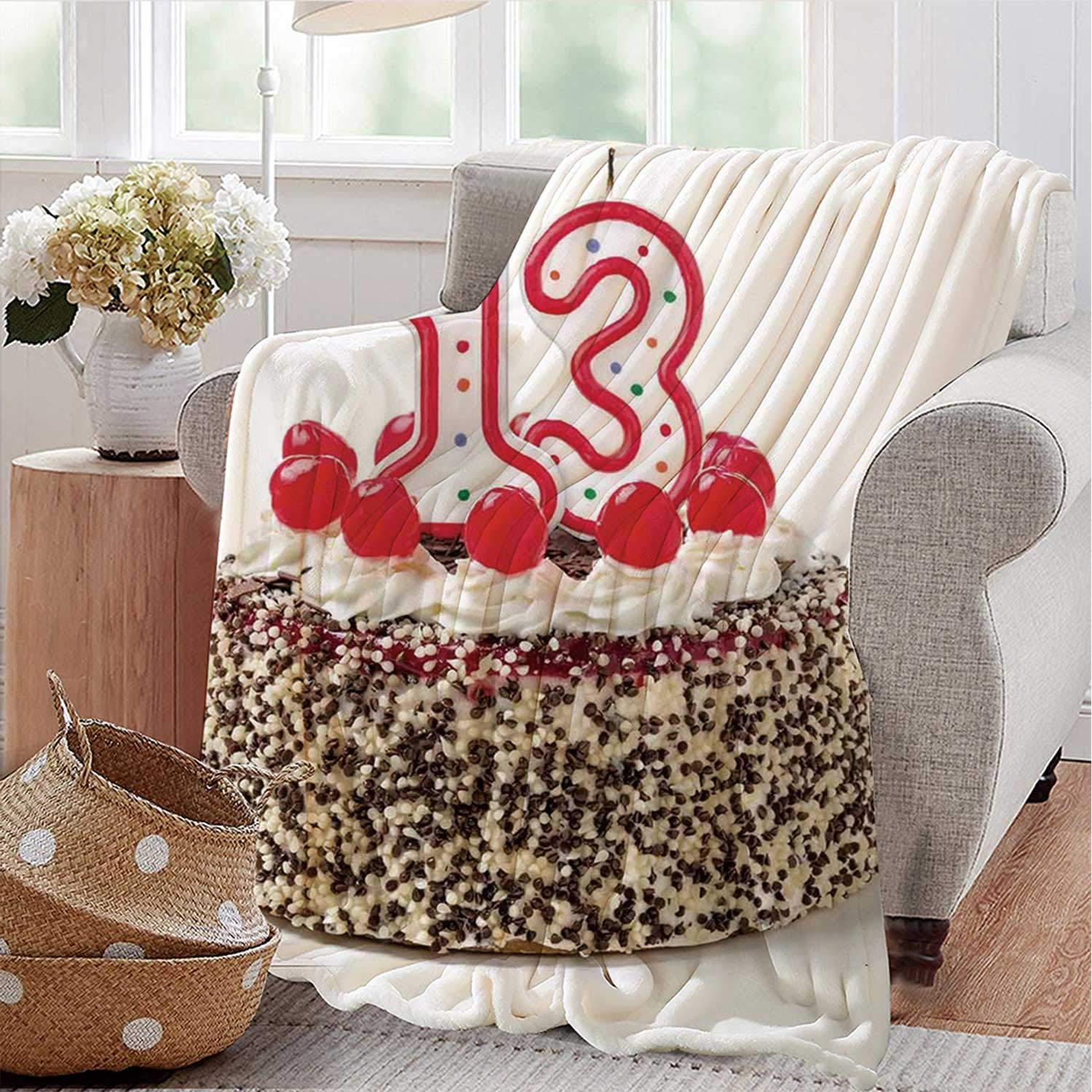 YOLIYANA 13th Birthday Decorations Personalized Flannel Blanket,Cake with Numeral Candles and Cherries Yummy Desert for Party for Spring,49'' L x 70'' W