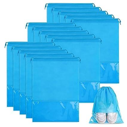 Whaline 15 Piezas Bolsa de Zapatos de Viaje, Grandes Bolsas de Almacenamiento de Zapatos, con Ventana Transparente para Hombres y Mujeres (Azul Cielo)