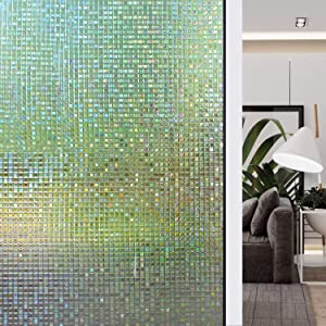 HIDBEA 3D Window Privacy Film Rainbow Decorative Static Clings, Heat Control UV Blocking Decals, Home Tint Vinyl, Glass Stickers, 35.4 Inches x 16.4 Feet (90 x 500 cm), Mosaic Patterns