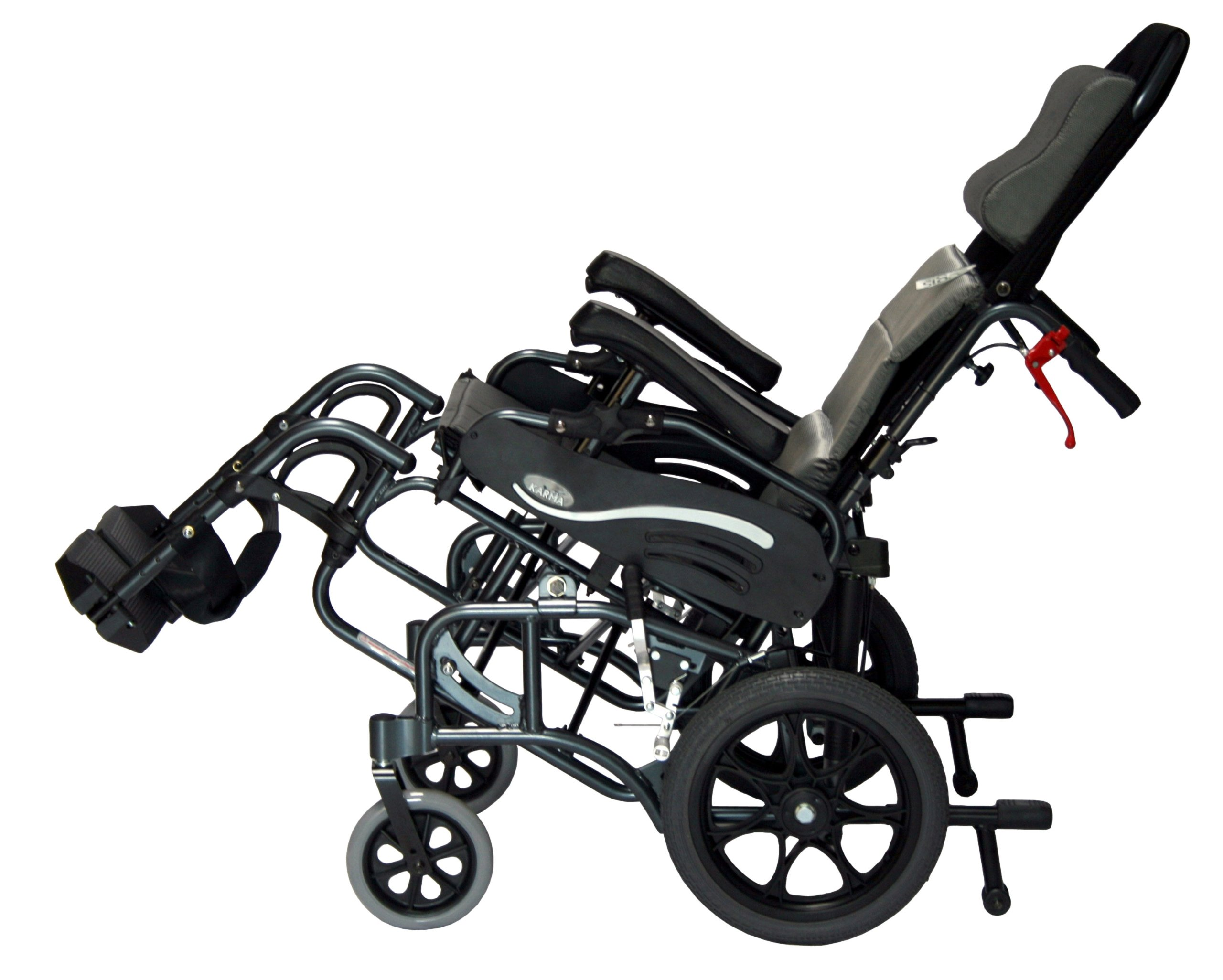 Karman Healthcare VIP-515-TP-16 Foldable Tilt in Space, Diamond Black, 14 Inches Rear Wheels and 16 Inches Seat Width