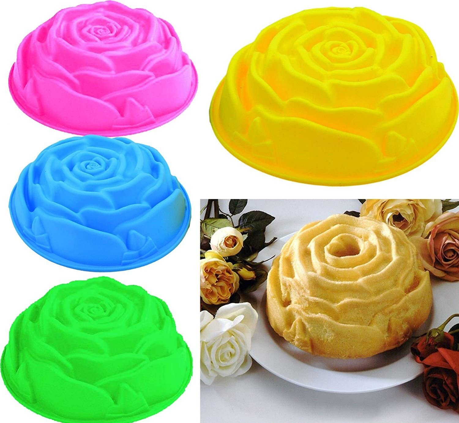 Random Color Vikenner 9 inches Rose Flower Birthday Cake Mould Silicone Tart Flan Bread Baking Mould for Chocolate Jelly Candy