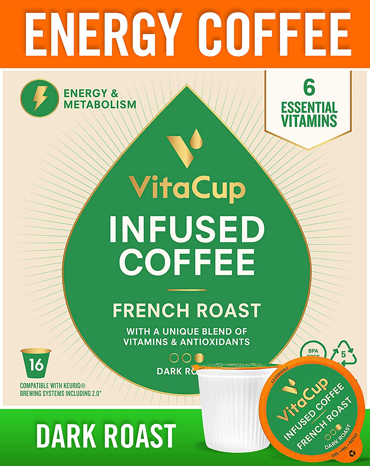 VitaCup French Roast Coffee Cups Infused With Essential Vitamins B12, B9,  B6, B5, B1, and D3, in Single