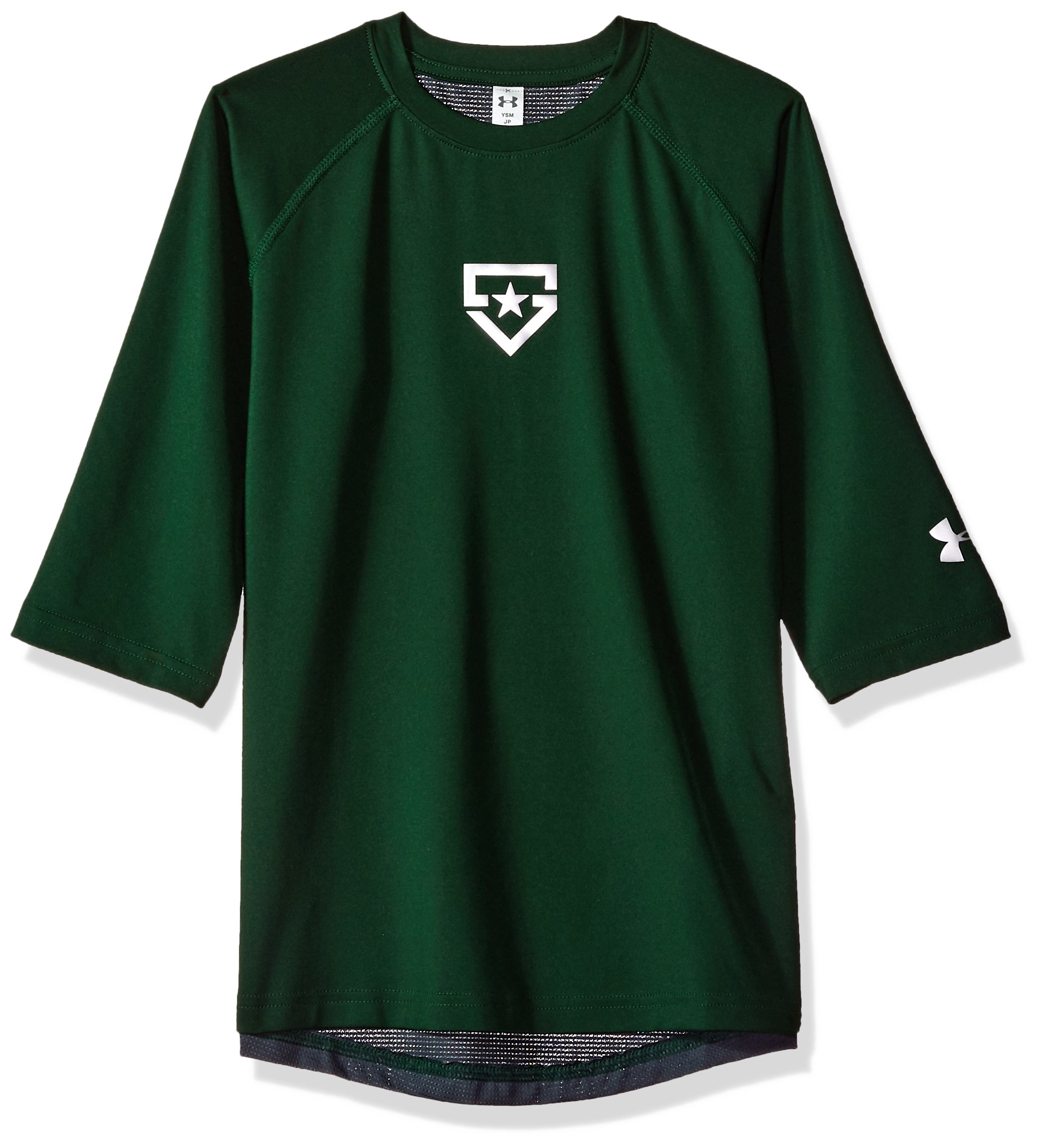 Boy's Under Armour Boys' Heater 3/4 sleeve T-Shirt, Forest Green (301)/Silver, Youth Large by Under Armour