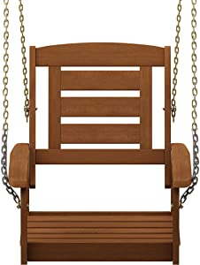 Furinno FG18414SC Tioman Hardwood Patio Furniture 1-Seater Porch Swing in Teak Oil, Without Frame, Natural