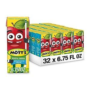 Mott's 100% Apple White Grape Juice, 6.75 Fluid Ounce Box, 8 Count (Pack of 4)